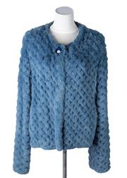 Sale 8550F - Lot 21 - A sky blue rabbit fur cross-hatch jacket with top button detail, mark to back, size M.