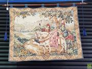 Sale 8576 - Lot 1024 - The Royal Hunt Tapestry Wall Hanging with Wooden Hanging Rod; by Marc Waymel, Created for the Franklin Mint