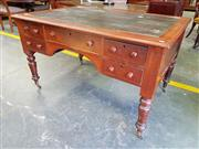 Sale 8666 - Lot 1048A - Late Victorian Cedar Partners Desk, with tooled green leather top over one long and four short drawers to each, raised on four turn...