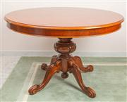 Sale 8774A - Lot 374 - A mahogany circular extension dining table on pedestal base, H x 77cm diameter 120cm