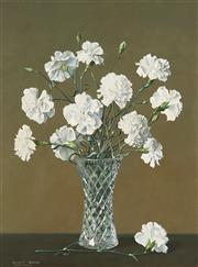 Sale 8791 - Lot 570 - Dennis Ramsay (1925 - 2009) - White Carnations, 1989 60 x 44 cm