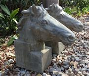 Sale 8857H - Lot 80 - A Pair of Large Carved Genuine Stone Horse Head Sculpture Entrance Gateway Finials, General wear, small Chippings, Size: 50cm H x 45...