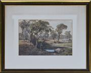 Sale 8940J - Lot 73 - Louis Buvelot (1814 - 1988) - Figures by Lake, watercolour, 22x31cm, signed & dated 1883 lower left.