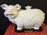Sale 9026 - Lot 1033 - Chinese Ceramic Figure of a Smiling Pig in box (H:19 L:31cm)