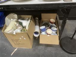 Sale 9101 - Lot 2417 - 2 Boxes of Sundries & Standard Lamp