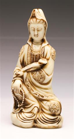 Sale 9107 - Lot 55 - A Chinese White Figure of A Seated Guanyin (H 29cm)