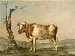 Sale 9123J - Lot 177 - Manner of Paulus Potter (Dutch 1625-1654) Study of cow in a landscape Oil on wooden panel Height 45cm x Width 31.5cm Height 81cm x W...