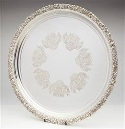 Sale 9123J - Lot 275 - A quality Hecworth silverplate large tray with deep embossed border D: 41cm