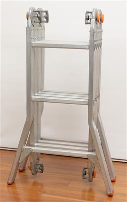 Sale 9239H - Lot 95 - A collapsible folding ladder, each section approx 1m