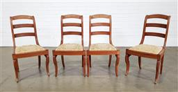 Sale 9255 - Lot 1254 - Set of 4 timber dining chairs (h:85 x w:46 x d:37cm)