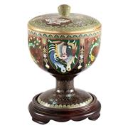 Sale 8000 - Lot 171 - A Japanese cloisonné stem cup and cover having alternating panels of dragons and phoenixes, with mark for Inata, and timber stand.