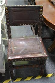 Sale 8031 - Lot 1040 - Set of Six 17th Century Style Turned Oak Chairs Covered in Leather with Bass Bosses