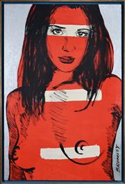 Sale 8134A - Lot 74 - David Bromley (1960 - ) - Red Nude 119 x 79cm