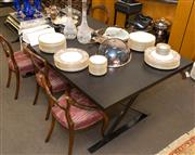 Sale 8310A - Lot 89 - An ebonised timber topped table on metal x frame base. height 75 x length 200 x 110cm