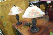 Sale 8326 - Lot 1611 - Set of Painted Shade table Lamps