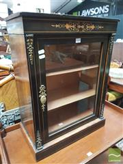 Sale 8416 - Lot 1060 - Victorian Miniature Walnut, Ebonised & Marquetry Pier Cabinet, with brass mounts & glass panel door, height: 66 cm