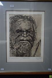 Sale 8578T - Lot 2008 - Roma Lewington Aboriginal Portrait etching and aquatint, 58.5 x 48cm(frame), signed lower right