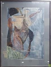 Sale 8604 - Lot 2052 - Virginia Glover - Standing Nude, 1992 pastel & watercolour 144 x 77cm (frame size) signed Glover at lower right