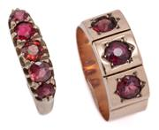 Sale 9029 - Lot 302 - TWO ANTIQUE 9CT GOLD GEMSET RINGS; one belcher set with 5 round cut almandine garnets, size Q, other a 7.7mm wide rose gold band sta...