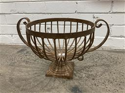 Sale 9102 - Lot 1306 - Wrought Iron Urn Form Plant Stand (H:28 D:30cm)