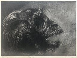 Sale 9123J - Lot 179 - Thomas Cornell (American 1937-2012) Monkey (Signed and Dated 1959) Etching with aquatint on wove paper Edition 33/100 Height 27cm x ...