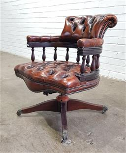 Sale 9162 - Lot 1052 - Buttoned burgundy leather desk chair, in the Victorian style, with turned gallery back (h82 x w61 x d70cm)