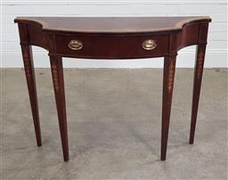 Sale 9188 - Lot 1618 - Timber serpentine front hall table (h:81 w:107 d:30cm)