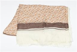 Sale 9253J - Lot 540 - A BALLY B-CHAIN SCARF; silk chashmere blend ivory and blush pink B-chain pattern with brown border, size 130 X  130cm, no tag.