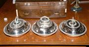 Sale 8015A - Lot 65 - Three lidded silver plated entree dishes