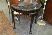Sale 8046 - Lot 1041 - Glass Top Timber Hall Table on 3 Cabriole Legs