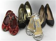 Sale 8087B - Lot 338 - FOUR PAIRS OF HEELS; silver Jimmy Choos 37 1/2, D&G red sandles 38, Boss in faux black shagreen (as new) and Escada 37
