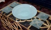 Sale 8098A - Lot 92 - Large Pale Green Art Glass Bowl Together With Four Heart Design Nut Dishes, by Susie Barnes