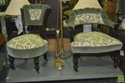 Sale 8338 - Lot 1412 - Pair Of Timber Parlour Chairs With Floral Fabric On Castors