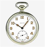 Sale 8402W - Lot 59 - ZENITH OPEN FACE POCKET WATCH; white dial with Arabic numerals, subsidiary seconds on a gilt 15 jewell cal. 18-28-3P movement no. 34...
