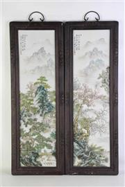 Sale 8913C - Lot 8 - Chinese Porcelain panels featuring village and river scenes, 82cm x 48cm