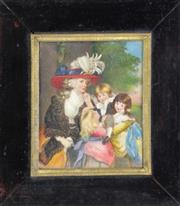 Sale 8952 - Lot 27 - An Antique Framed Ivory Portrait Miniature, Oil Painting of A Lady Seated with Children, Attributed to Sir John Reynolds (1723-1792)