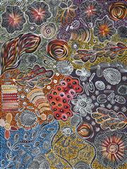 Sale 8983 - Lot 521 - Janet Golder Kngwarreye (1973 - ) - Yam Dreaming 94 x 71 cm (stretched and ready to hang) (total: 94 x 71 x 4 cm)