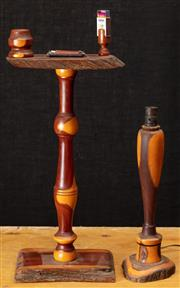 Sale 8984H - Lot 327 - A mulga wood smokers stand together with a lamp base