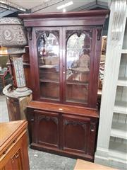 Sale 9031 - Lot 1007 - Victorian Mahogany Bookcase, with two carved glass panel doors below & matching timber doors below