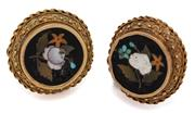 Sale 9046 - Lot 365 - A PAIR OF ANTIQUE PIETRA DURA CUFF LINKS; 15mm round plaques featuring floral motif coloured stonework (some losses and cracks) to c...