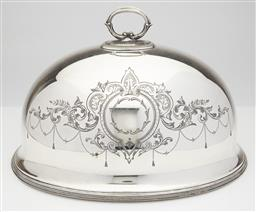 Sale 9123J - Lot 277 - An antique English silverplate meat dish cover, Lee & Wigfull, Sheffield C: 1890, hand engraved to both sides with a boldly scrolled...