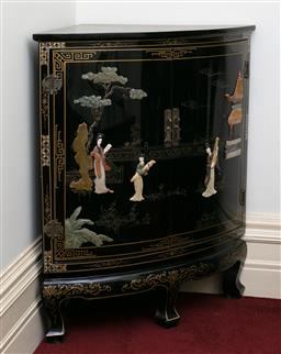 Sale 9190H - Lot 266 - A Chinese lacquered and stone inlaid corner cabinet opening to reveal two shelves, Height 85cm x Depth 54cm