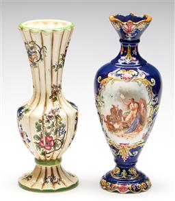 Sale 9253 - Lot 96 - A continental vase with central scene (H:33cm), together with a Capodimonte flute example (H:31cm)