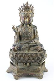 Sale 8189 - Lot 59 - Guan Yin Bronze Three Sectioned Figure