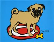 Sale 8592A - Lot 5097 - Marc Tetro - Pug on a Rug 23 x 30cm (frame size: 43 x 52cm)