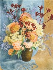 Sale 8467 - Lot 585 - Fiona Craig (XX - ) - Gumblossoms and Kangaroo Paw, 1989 76 x 45cm