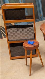 Sale 8677A - Lot 94 - A nautical themed three-tier storage unit, together with a milking stool.