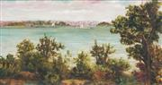 Sale 8683A - Lot 5072 - Artist Unknown - Fort Denison from Kiribili, c1900 40 x 70cm