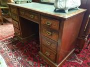 Sale 8792 - Lot 1092 - Victorian Rosewood & Marquetry Pedestal Desk, with green leather top, fitted with nine drawers with floral arabesque inlays