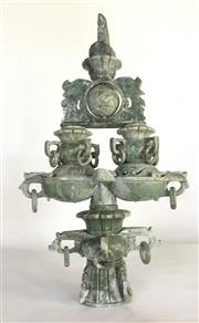 Sale 8857H - Lot 83 - A Carved Green Stone Incense Burner ,Consist Of 5 Parts , General Wear , Size 42cm H